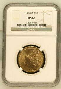 1910 D $10 INDIAN EAGLE   NGC MS63 GOLD COIN