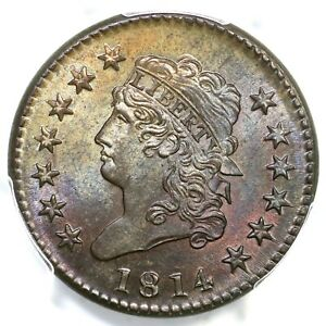Click now to see the BUY IT NOW Price! 1814 S 294 PCGS MS 65  BN CROSSLET 4 CLASSIC HEAD LARGE CENT COIN 1C