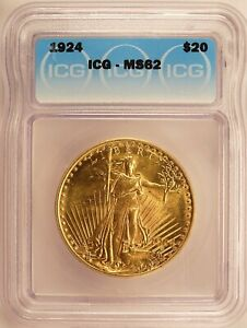 1924 ST. GAUDENS DOUBLE EAGLE $20 GOLD BRILLIANT UNCIRCULATED ICG MS62