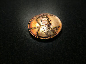 1947 D 1C LINCOLN WHEAT CENT TONED.