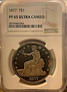 Click now to see the BUY IT NOW Price! 1877 T$1 TRADE DOLLAR PR65 ULTRA CAMEO NGC   PF65UC ULTRA  NGC VALUE $18 000