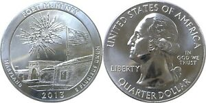 2013 AMERICA THE BEAUTIFUL FORT MCHENRY 5 OZ. SILVER QUARTER
