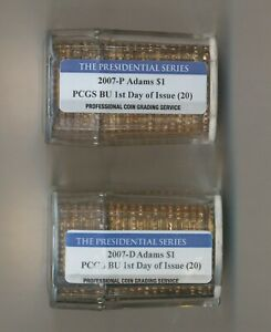 Click now to see the BUY IT NOW Price! 2 SET 2007 D & P ADAMS PRESIDENTIAL DOLLAR ROLL 20 PCGS BU 1ST DAY OF ISSUE