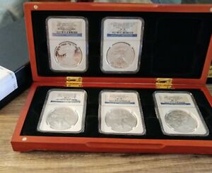 2011 SILVER EAGLE 5 COIN SET 25TH ANNIVERSARY MS70 & PF70 NGC