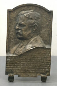 BRONZE PLAQUE THEODORE ROOSEVELT BY JAMES EARLE FRASER ORIG PATINA CA. 1910S