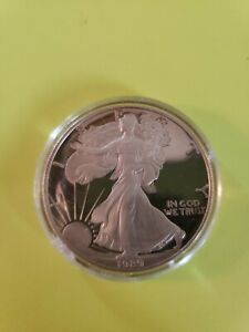 1989 S PROOF AMERICAN SILVER EAGLE COIN NO BOX PAPERWORK .999 FINE 1 TROY OZ