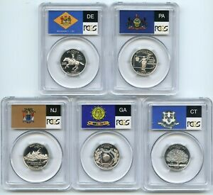 Click now to see the BUY IT NOW Price! 1999   2008 SILVER QUARTER PCGS PR70DCAM DEEP CAMEO 50 COIN STATE FLAG FULL SET