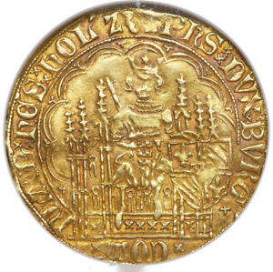 Click now to see the BUY IT NOW Price! PHILIPPE LE BON CHAISE D'OR 1419 67 FLANDERS AD NGC VF 30 GOLDEN RED PATINA