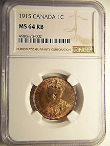 1915 CANADA LARGE CENT MS 64 NGC RED BROWN