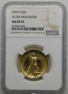Click now to see the BUY IT NOW Price! 2009 ULTRA HIGH RELIEF GOLD $20 NGC MS 69 PL  MINT BOX BOOK COA