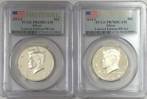 Click now to see the BUY IT NOW Price! 2014 S KENNEDY HALF DOLLAR LIMITED EDITION PR SET FS PCGS PR69/70DCAM 2 COIN SET