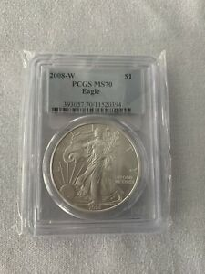 2008 W  BURNISHED SILVER EAGLE PCGS MS70