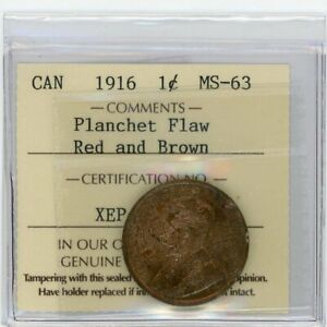 1916 CANADA LARGE CENT   ICCS MS 63 RB WITH LAMINATION ERROR