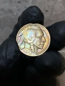 1929/S TONED  OLD CLEANING  LAMINATION ERROR ON REVERSE BUFFALO NICKEL