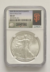 2014 SILVER EAGLE MS69 NGC CERTIFIED GIANTS MLB STAMP   MAKE US AN OFFER
