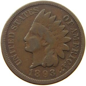 UNITED STATES CENT 1893 INDIAN HEAD S51 859