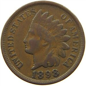 UNITED STATES CENT 1898 INDIAN HEAD S33 207