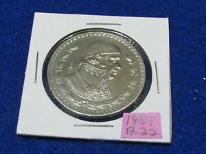 LARGE MEXICAN SILVER COIN 1957 MORELOS SILVER PESO  COMBINE SHIPPING SAVE $$$$