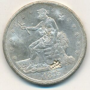 1875 S TRADE SILVER DOLLAR EXCELLENT DETAIL  CHOPMARKS ON REVERSE SHIPS FREE