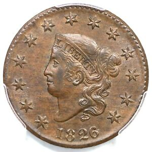 Click now to see the BUY IT NOW Price! 1826/5 N 8 R 2 PCGS MS 63 BN CAC MATRON OR CORONET HEAD LARGE CENT COIN 1C