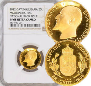 Click now to see the BUY IT NOW Price! NGC PROOF 68 BULGARIA GOLD 20 LEVA 1912  NATIONAL BANK ISSUE RESTRIKE