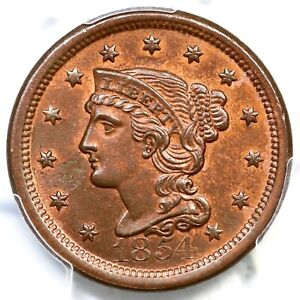 Click now to see the BUY IT NOW Price! 1854 N 29 R 3 PCGS MS 64 RB BRAIDED HAIR LARGE CENT COIN 1C