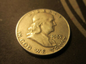 1957 D  FRANKLIN HALF DOLLAR. AV OR BETTER CONDITION