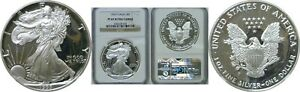 1993 P $1 PROOF AMERICAN SILVER EAGLE NGC PF 69 ULTRA CAMEO BROWN LABEL 034