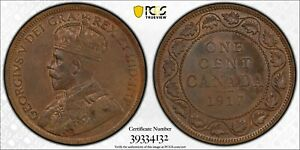 PCGS MS 63 CANADA LARGE 1 CENT 1917