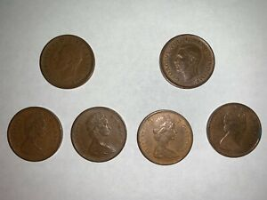 SET 6 CANADA ONE CENT PENNY CIRCULATED 1942 1945 GEORGE VI   1967 1968 1975 QE2