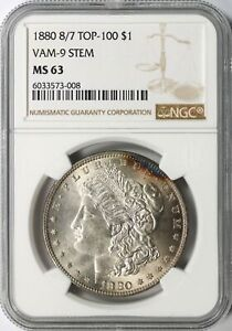 1880 8/7 TOP 100 MORGAN SILVER DOLLAR $1 VAM 9 STEM NGC MS63