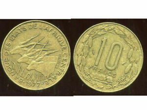 CENTRAL AFRICAN  AFRIQUE CENTRAL 10 FRANCS 1977      ETAT