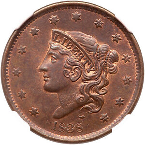Click now to see the BUY IT NOW Price! 1838 N 8 NGC MS 65 RB CAC MATRON OR CORONET HEAD LARGE CENT COIN 1C