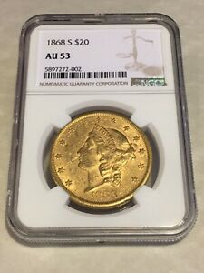1868 S $20 NGC AU53 LIBERTY DOUBLE EAGLE GOLD COIN NICE COIN  NOT PCGS