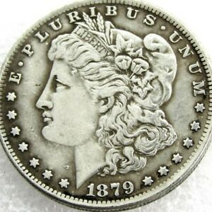 AMERICAN OLD COIN   MORGAN DOLLAR 1879 COIN SILVER PLATED