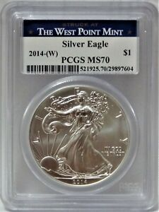 2014 W  AMERICAN SILVER EAGLE DOLLAR $1 STRUCK AT THE WEST POINT MINT  PCGS MS70