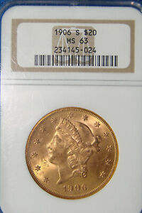 BEAUTIFUL LOOKING 1906 S $20.00 GOLD DOUBLE EAGLE CLASSIC HEAD   MS 63 NGC