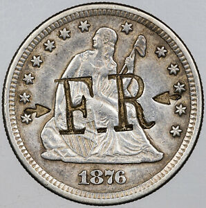 1876 CC COUNTER STAMPED SEATED LIBERTY QUARTER SILVER AMAZING   MR