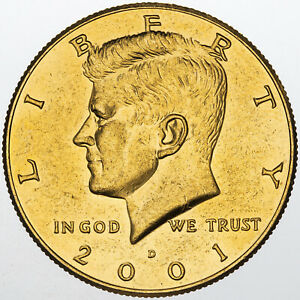 Click now to see the BUY IT NOW Price! 2001 D KENNEDY HALF DOLLAR UNC GOLD GILDED GEM CHOICE LUSTER BU  MR