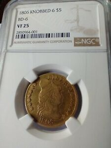GOLD 1806 KNOBBED 6 $5 FIVE DOLLAR VF 25 COIN GRADED BY NGC ENCAPSULATED
