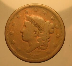 1837 UNITED STATES BRAIDED HAIR ONE LARGE CENT PENNY   GOOD CONDITION