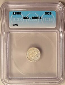 1865 THREE CENT PIECE SILVER 3C UNCIRCULATED ICG MS61 RE PUNCHED DATE