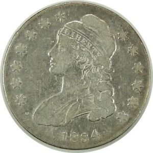 1834 50C CAPPED BUST SILVER HALF DOLLAR VG/FINE DETAILS  CLEANED   102520