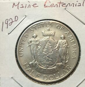 1920  50C  MAINE CENTENNIAL COMMEMORATIVE AU FEW MARKS