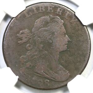 1798 S 180 R 5 NGC F DETAILS DRAPED BUST LARGE CENT COIN 1