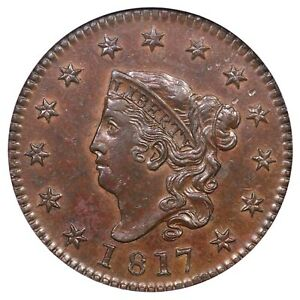 1817 N 11 ANACS MS 61 BN MATRON OR CORONET HEAD LARGE CENT COIN 1C