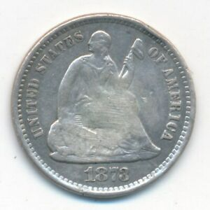1873 S SEATED LIBERTY SILVER HALF DIME VERY NICE CIRCULATED SHIPS FREE  INV:1