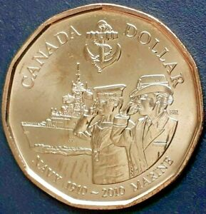 CANADA 2010 CANADIAN LOONIE 1 ONE DOLLAR ROYAL CANADIAN NAVY.