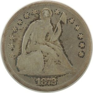 1872 P $1 SEATED LIBERTY SILVER DOLLAR VG DETAILS