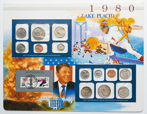 Click now to see the BUY IT NOW Price! 1980 P&D U.S MINT SET WINTER OLYMPIC GAMES WITH AMAZING MULTI COLOR TONED COINS